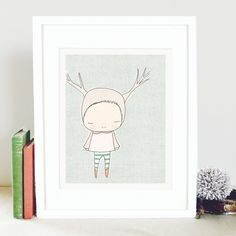 Oh this dear little girl, who is ironically a deer, loves taking walks in the woodland forest.    ---------------------------------------------------------------------------------------------------------------  Picture frame not included. 3rd image shows how it looks on an a4 piece of paper.  ---------------------------------------------------------------------------------------------------------------    Created with ink pen and digitally coloured (220 gsm / acid free/ c grain) using Epson…
