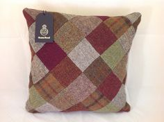 Harris Tweed patchwork Cushion Cover by PoppyMallow on Etsy