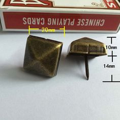 5 Square Cap Tacks Classic Brass Iron Four Sides by SiberHardware