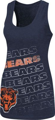 Chicago Bears Navy Women's Play Time V Tri-Blend Tank