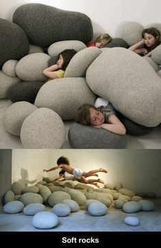 """Large soft """"rocks""""! Fun and looks easy to do~ Would fit great with my idea of a forest themed playroom"""