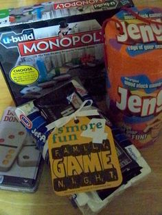'S'more fun 4 Family Game Night' (tag) for raffle basket items.