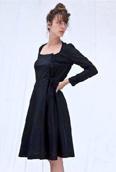L o o p Women's Long Sleeve Cloche Circle Skirt Tailored 1940's Chic LBD Little Black Dress Casual Office Work Bridesmaid's Wedding Dress