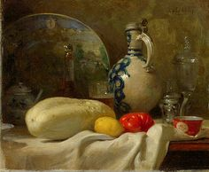 """Adolphe Félix Cals: """"Still Life with a Cucumber and a Pitcher"""", oil on panel, Minneapolis Institute of Arts. Still Life 2, Still Life Images, Be Still, Manara Milo, Still Life Flowers, Art Addiction, Virtual Art, Paintings I Love, Amazing Pics"""