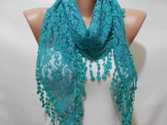 Teal Green Lace Scarf Shawl, Teal Cowl Scarf, Teal Green Wedding Scarf, Women Fashion Accessories, Gift For Mom, Bridesmaids Gift, ScarfClub
