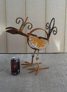Yard Bird 7 a welded yard art top knot bird by Sistersteel on Etsy, $50.00