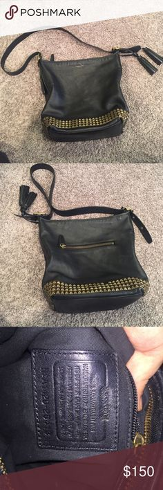 NEW LISTING!Coach Leather Studded Bucket Bag Genuine coach leather black studded bucket bag. Two studs are missing one from the front one from the back. Other than that in great condition! Coach Bags