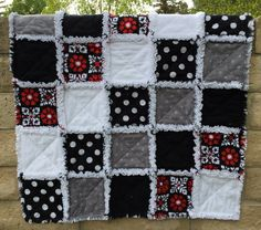 Black White Gray Red Baby Rag Quilt with Hawaiian by ZeedleBeez