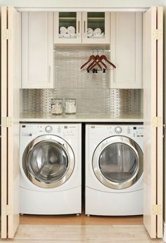 Practical Home laundry room design ideas 2018 Laundry room decor Small laundry room ideas Laundry room makeover Laundry room cabinets Laundry room shelves Laundry closet ideas Pedestals Stairs Shape Renters Boiler Small Laundry Rooms, Laundry Room Organization, Laundry Room Design, Laundry In Bathroom, Laundry Nook, Organization Ideas, Hidden Laundry, Storage Ideas, Compact Laundry