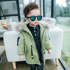 chifave New Kids Boys Outerwear Trench Coat Cotton Padded Warm Zipper Letter Pattern Children Clothing 2 Colors Suit for Boys