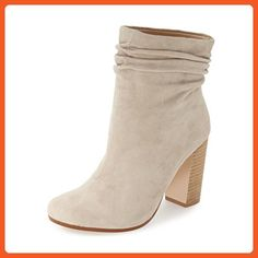XYD Casual Slouchy Booties Shoes Suede Round Toe Ankle High Stacked Heel Boots for Women Size 13 Beige - Boots for women (*Amazon Partner-Link)