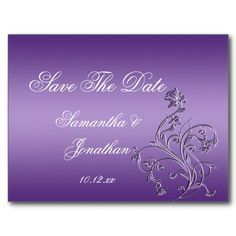 Purple Ombre Ornate Floral Swirls Save The Date