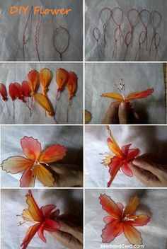 Make this lovely lily flower with stretchy mesh fabric. The more vibrant the color the more beautiful the flower will turn out.  Try to find fabric that comes in a gradient of colors.  The different color tone will really bring out the beauty.  Here are the step by step how-tos: