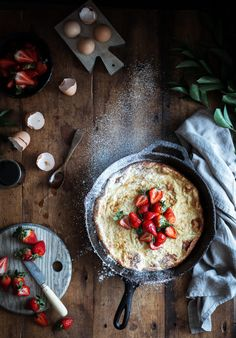 Dutch Baby + Balsamic Maple Berries & Whipped Chevre Cream (GF) - The Kitchen McCabe Pancakes, Crepes And Waffles, Brunch Recipes, Sweet Recipes, Breakfast Recipes, Brunch Foods, Top Recipes, Pavlova, Cheesecakes