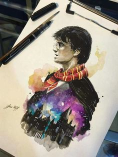 Harry Potter with the Gryffindor Scarf and Hogwarts.