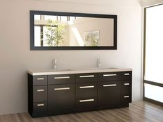 Buy the Design Element Espresso Direct. Shop for the Design Element Espresso Moscony Free Standing Vanity Set with Soft Close Doors, Cabinet, Top with Undermount Sinks and Matching Mirror and save. 72 Double Sink Vanity, Double Sink Bathroom, Vanity Set With Mirror, Modern Bathroom, Master Bathroom, Bathroom Ideas, Double Sinks, Modern Vanity, Bath Ideas