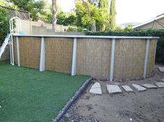 Give you above ground pool a face lift by wrapping it in bamboo. Above Ground Pool Landscaping, Backyard Pool Landscaping, Above Ground Swimming Pools, Backyard Retreat, In Ground Pools, Landscaping Tips, Outdoor Projects, Outdoor Decor, Outdoor Living