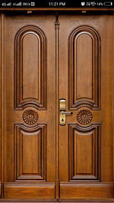 Front Door Wooden Stuff In 2019 Wooden Door Design Main Double Door Design, Doors Interior Modern, Double Front Doors, Door Gate Design, Modern Entrance Door, Wooden Door Design