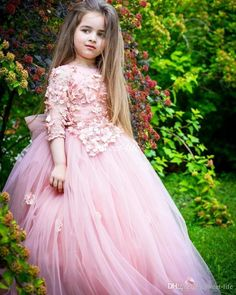 Pink Long Sleeve Flower Girl Dresses For Weddings 3D Floral Appliqued Beads Little Baby Ball Gowns Puffy Skirts Communion Pageant Dress 2017
