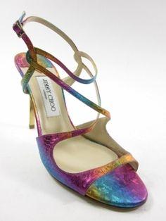 JIMMY CHOO Rainbow Metallic Snakeskin Embossed Leather Ankle Strap Sandals