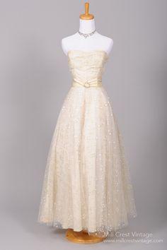 1940 Dotted Sequin Vintage Wedding Gown : Mill Crest Vintage