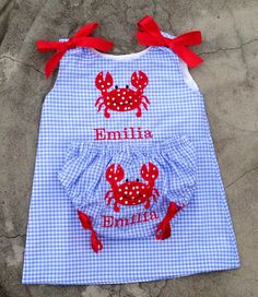 Baby girl summer clothes, Baby girl outfits, baby dress, Monogrammed Baby A line Dress with Bloomers Blue Gingham with Crab Applique