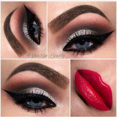Red lips and smokey eye