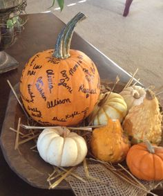 """Gratitude pumpkin with names of our family and close friends that we """"do life with""""..."""