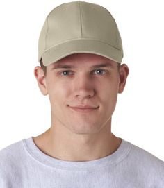ultraclub classic cut brushed cotton twill constructed cap - khaki (one)