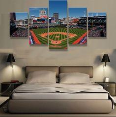 Large Framed Cleveland Indians Baseball Stadium Canvas Print
