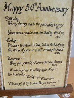 Hy 50th Anniversary Poem Under Gl Wood Wall Hanging Sign