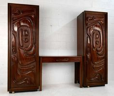 Rare Mid-Century Phillip Lloyd Powell Style Armoire and Desk  2