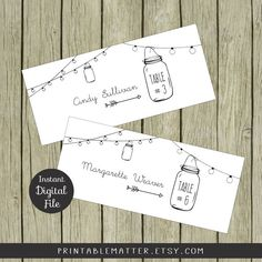 Wedding Guest Place Cards  Table Number Tents  by PrintableMatter