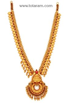 Gold in Lakshmi Long Necklace (Temple Jewellery) Gold Chain Design, Gold Jewellery Design, Gold Jewelry, Gold Haram, Temple Jewellery, Gold Bangles, Garlands, Anklets, Gold Pendant