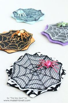 Accessorize with a colorful spider web hair clip you can make for halloween.