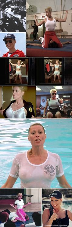 A touch of adult humour from the 80s. Who could forget Leslie Easterbrook playing Sgt Callahan in Police Academy. This police drill instructor really put the cadets through their paces. Demonstrating unarmed combat with a lucky volunteer, and dealing with peeping Toms sneaking a peep through her window at night, as she swings her dumbbells.