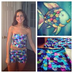 Myself in my rainbow fish Halloween costume I made. Most fun Iu0027ve had  sc 1 st  Pinterest & Rainbow Fish Halloween Costume by Trish Stitched | Mermaid ...