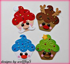 These cute die cut piecings were handmade and paper pieced. Cupcake Card, Paper Cupcake, Christmas Makes, Felt Christmas, Diy And Crafts, Crafts For Kids, Paper Crafts, Diy Bullet Journal, Handmade Christmas Decorations