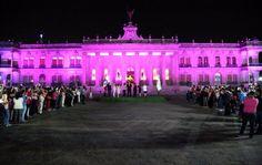 Iluminan de rosa el Palacio de Gobierno de NL
