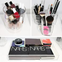 How to Organize Makeup for a Better Beauty Routine | The Zoe Report -- need lucite trays and cups