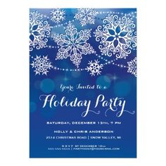 Modern lacy style snowflakes on a glowing blue background highlight this Holiday Party Invitation. Easy to customize with your own text. Original Illustration by pj_design. More versions available, please check my store or contact me.