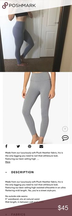 "Beyond Yoga Soft Gray High Rise Plush Legging ***NWOT** Plush Caught In The Midi High Waist Legging  Size: XS Color: Soft Gray  Retail for $99.00 on beyondyoga.com. Perfect condition, asking for less than half of what I paid for them.  Description in second picture :) These are a ""midi"", ""ankle length"", legging, but I am 5'2 and they fit me as full length. Feel free to ask any questions! Beyond Yoga Pants Leggings"