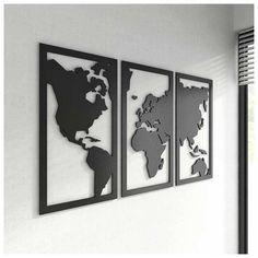 Quadro Mapa-Múndi Decorativo MDF - Estilo Frame - Preto (102x59cm) | Loja para quem Ama Viajar | Loja Viagema Photo Wall Decor, Map Wall Decor, Metal Wall Art, Wood Art, Metal Walls, Metal Sheet Design, New Photo Frame, Laser Art, World Map Wall Art
