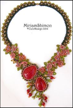Pink and Red flower necklace by Cielo Design, via Flickr