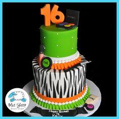 Sweet 16 Zebra & Makeup Birthday Cake