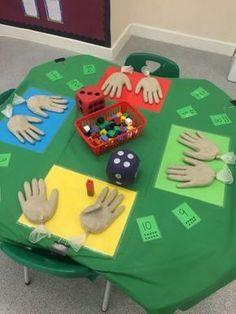 First Grade math activity (counting hands).latex gloves filled with sand. Maths Eyfs, Numeracy Activities, Kindergarten Classroom, Teaching Math, Preschool Activities, Number Sense Kindergarten, Addition Activities, Nursery Activities, Elementary Math