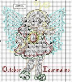 Toddler Birthstone Fairy October Tourmaline Cross Stitch Pattern 2/5