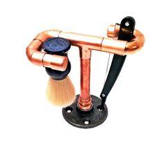 Straight razor stand and brush holder copper by IronIllumination