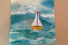 Sailing At Sea. Fused Glass for Carol. By Janelle. As You Wish.