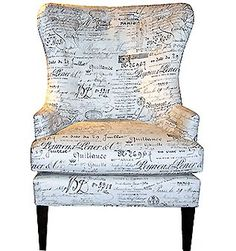 WING CHAIR IN A DOCUMENT PRINT LINEN